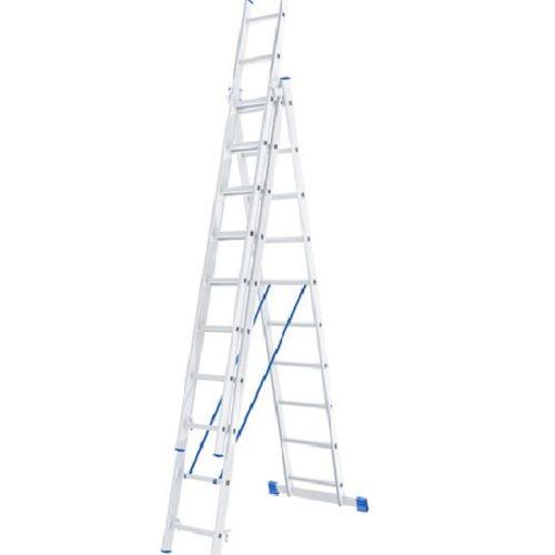 Лестница, 3 х 10 ступеней, алюминиевая, трехсекционная // СИБРТЕХ // Pоссия по выгодной цене