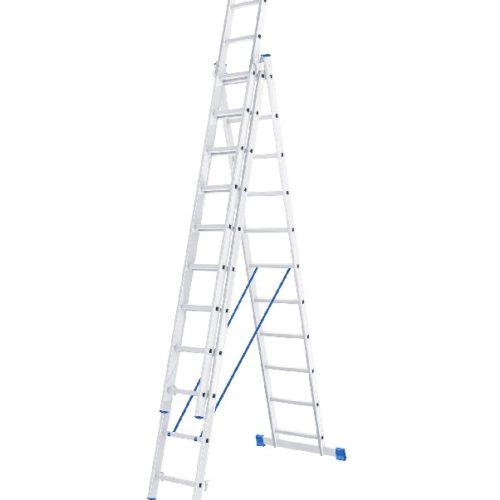 Лестница, 3 х 11 ступеней, алюминиевая, трехсекционная // СИБРТЕХ // Pоссия, шт по выгодной цене