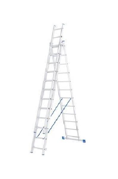 Лестница, 3 х 12 ступеней, алюминиевая, трехсекционная // СИБРТЕХ // Pоссия по выгодной цене
