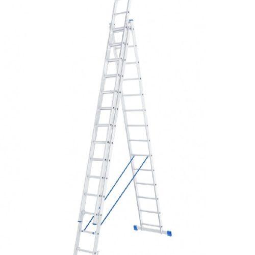 Лестница, 3 х 14 ступеней, алюминиевая, трехсекционная // СИБРТЕХ // Pоссия по выгодной цене