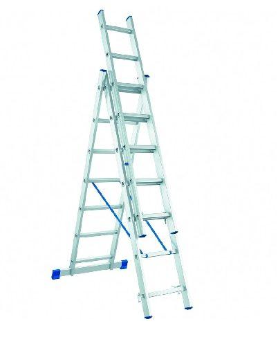 Лестница, 3 х 7 ступеней, алюминиевая, трехсекционная  // СИБРТЕХ // Pоссия по выгодной цене