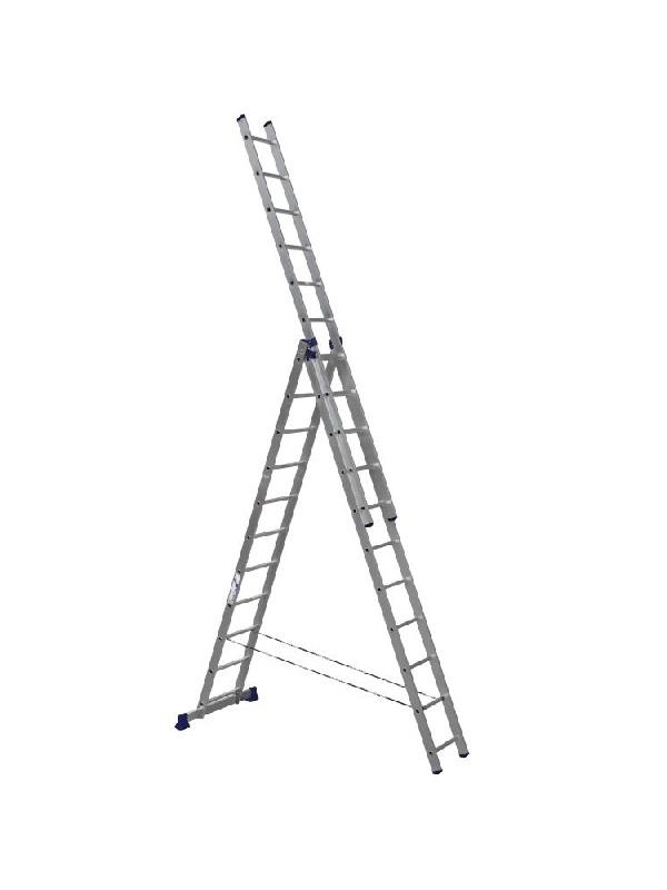 Лестница трехсекционная алюминиевая 3*11 по выгодной цене