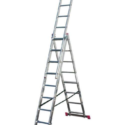 Лестница трехсекционная алюминиевая 3*8 по выгодной цене