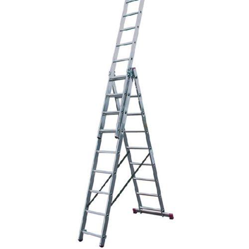 Лестница трехсекционная алюминиевая 3*9 по выгодной цене