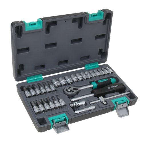 Набор инструментов STELS 29 предметов 1/4″ CrV , пластиковый кейс по выгодной цене