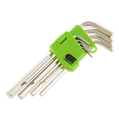 Набор ключей имбусовых HEX, 1,5–10 мм, 45x, закаленные,  9 шт., удлиненные ,  никель.//Сибртех по выгодной цене