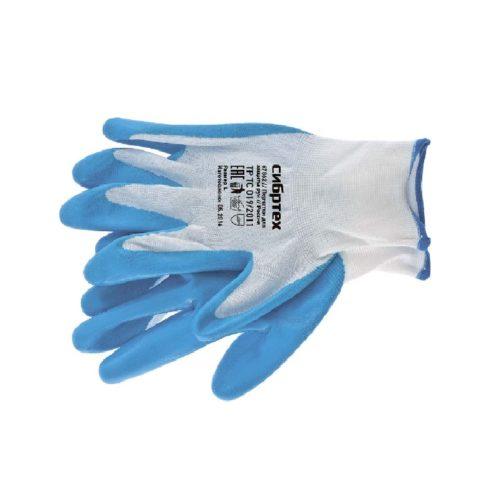 Перчатки полиэфирные с синим нитрильным покрытием маслобензостойкие, L, 15 класс вязки Сибртех по выгодной цене