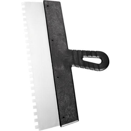 Шпатель 200 мм из нержавеющей стали, зуб 6х6 мм, пластмассовая ручка по выгодной цене