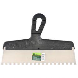 Шпатель СИБРТЕХ 300 мм из нержавеющей стали, зуб 6х6 мм, пластмассовая ручка