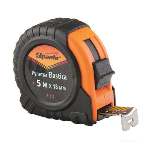 Рулетка Elastica, 5 м х 18 мм, обрезиненный корпус// SPARTA по выгодной цене
