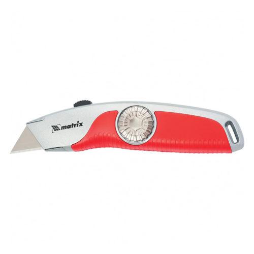 Нож, 18 мм выдвижное трапецивидное лезвие , эргономичная двухкомпонентная рукоятка//MATRIX по выгодной цене