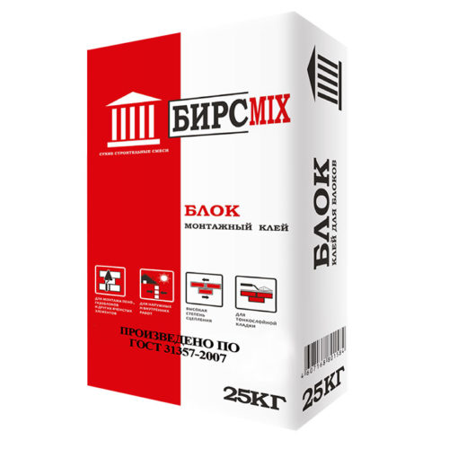 Клей монтажный БЛОК, БИРСMIX, 25 кг/60 по выгодной цене
